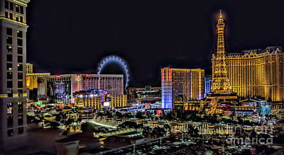 Photograph - Las Vegas Night Skyline by Walt Foegelle