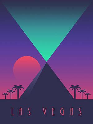 Las Vegas Pyramid Casino Art Deco 80's Tourism Art Print