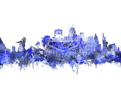 Digital Art - Las Vegas Skyline Blue by Bekim Art