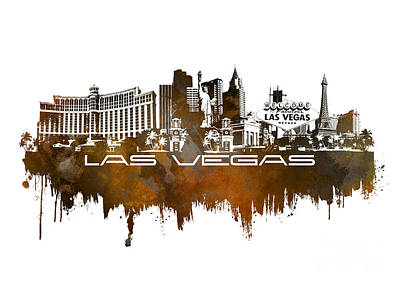 Poker Digital Art - Las Vegas Skyline City Brown by Justyna JBJart