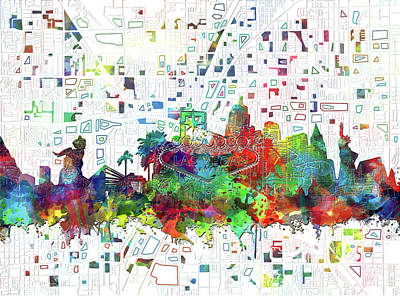 Abstract Skyline Royalty-Free and Rights-Managed Images - Las Vegas Skyline Map 2 by Bekim Art