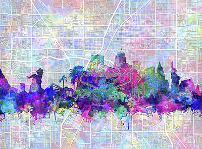 Digital Art - Las Vegas Skyline Map by Bekim Art