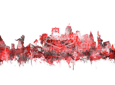 Digital Art - Las Vegas Skyline Red by Bekim Art