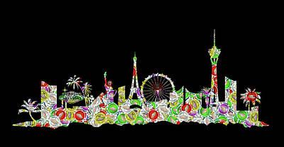 Digital Art - Las Vegas Skyline Silhouette Chips by Ricky Barnard