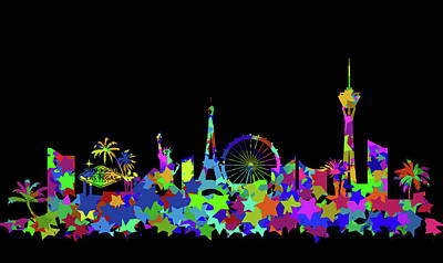 Abstract Skyline Digital Art Rights Managed Images - Las Vegas Skyline Silhouette II Royalty-Free Image by Ricky Barnard