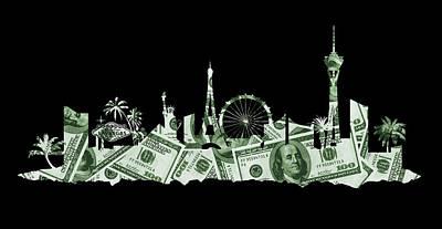 Digital Art - Las Vegas Skyline Silhouette Money by Ricky Barnard