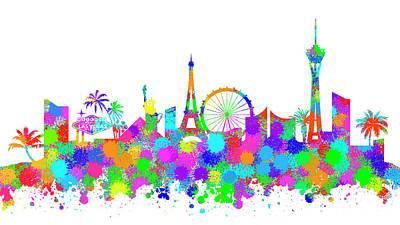 Digital Art - Las Vegas Skyline Silhouette V by Ricky Barnard