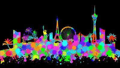 Digital Art - Las Vegas Skyline Silhouette Vi by Ricky Barnard