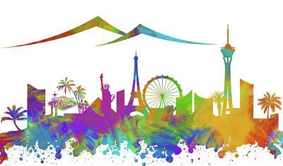 Digital Art - Las Vegas Skyline Silhouette Vii by Ricky Barnard