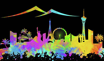 Abstract Skyline Digital Art Rights Managed Images - Las Vegas Skyline Silhouette VIII Royalty-Free Image by Ricky Barnard