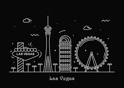 Abstract Landscape Drawing - Las Vegas Skyline Travel Poster by Inspirowl Design