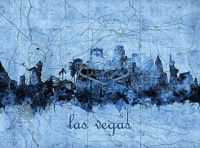 Abstract Skyline Royalty-Free and Rights-Managed Images - Las Vegas Skyline Vintage 2 by Bekim Art