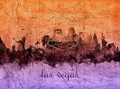 Abstract Skyline Royalty-Free and Rights-Managed Images - Las Vegas Skyline Vintage 3 by Bekim Art