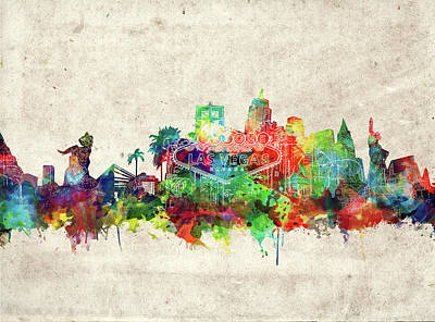 Digital Art - Las Vegas Skyline Watercolor by Bekim Art