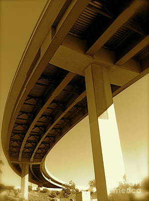 Photograph - Las Vegas Spaghetti Bowl Freeway Fine Art Photograph Sepia Landscape Photograph by Tim Hovde
