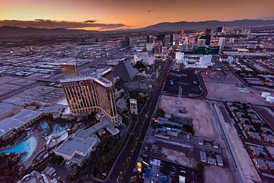 Sunset Strip Wall Art - Photograph - Las Vegas Strip Aloft by Steve Gadomski