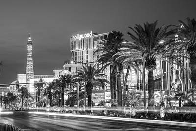Las Vegas Strip Black And White Art Print