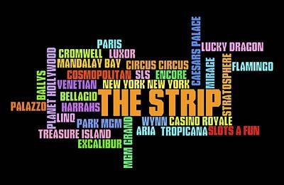 Digital Art - Las Vegas Strip Casino Typography by Ricky Barnard