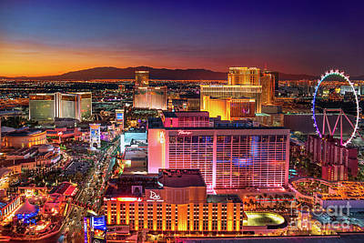 Photograph - Las Vegas Strip North View After Sunset by Aloha Art