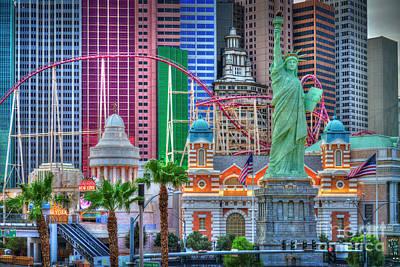 Photograph - Las Vegas Strip Ny Ny Hotel Sunrise by David Zanzinger