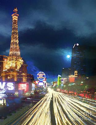 Painting - Las Vegas Strip Paris At Night  by Robert Gaines