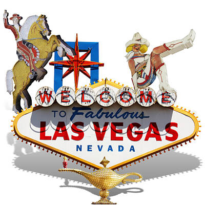 Icon Mixed Media - Las Vegas Symbolic Sign On White by Gravityx9 Designs