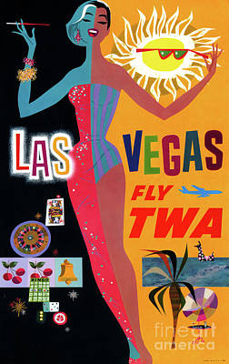 Drawing - Las Vegas Vintage Travel Poster Restored by Carsten Reisinger