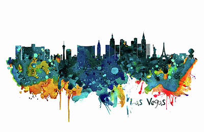 Mixed Media - Las Vegas Watercolor Skyline by Marian Voicu