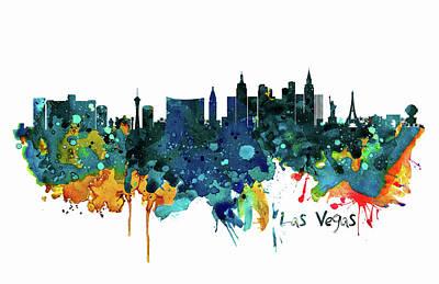 Mixed Media - Las Vegas Watercolor Skyline by Marian Voicu