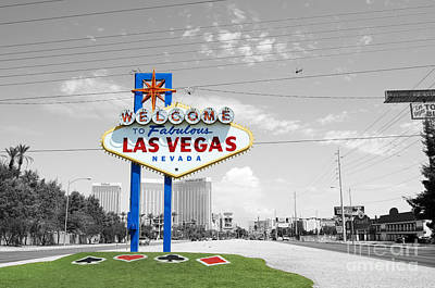Photograph - Las Vegas Welcome Sign Color Splash Black And White by Shawn O'Brien