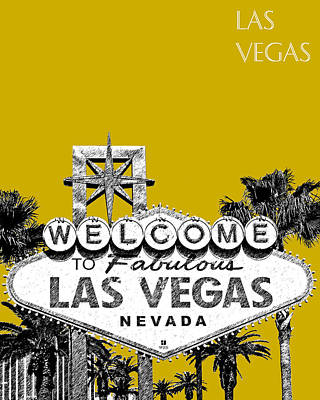 Signed Digital Art - Las Vegas Welcome To Las Vegas - Gold by DB Artist