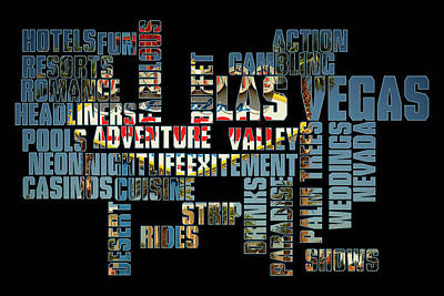 Photograph - Las Vegas Word Art by Ricky Barnard