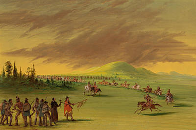 Prairie Sky Art Painting - Lasalle Meets A War Party Of Cenis Indians On A Texas Prairie by Mountain Dreams