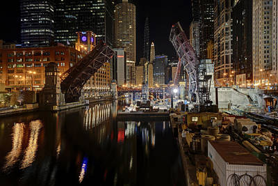 Lasalle St Draw Bridge Maintenance - Chicago River Art Print by Daniel Hagerman