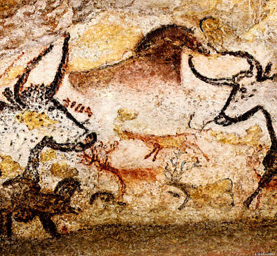 Lascaux Hall Of The Bulls - Deer Between Aurochs Art Print