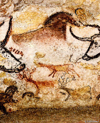 Photograph - Lascaux Hall Of The Bulls - Deer Under Horse by Weston Westmoreland