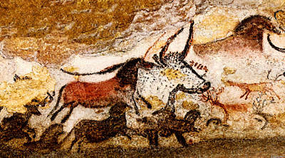 Digital Art - Lascaux Hall Of The Bulls - Horses And Aurochs by Weston Westmoreland