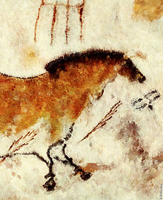 Digital Art - Lascaux Prehistoric Horse Detail by Weston Westmoreland