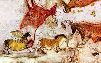 Digital Art - Lascaux Two Horses And Cows by Weston Westmoreland