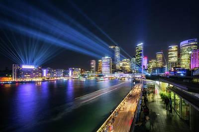 Photograph - Laser Show Above The Sydney Skyline by Daniela Constantinescu