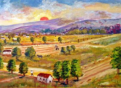Painting - Lasithi Valley In Greece by Constantinos Charalampopoulos