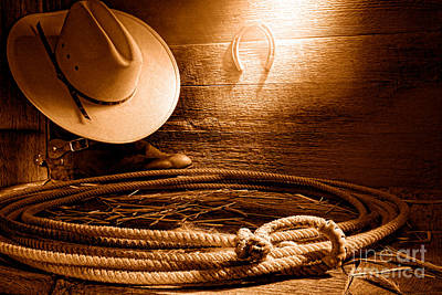 Rawhide Photograph - Lasso In Old Barn - Sepia by Olivier Le Queinec