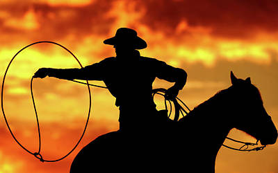 Lasso Sunset Cowboy Art Print