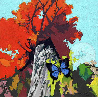 Painting - Last Butterfly Before Winter by John Lautermilch