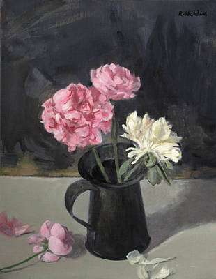 Painting - Light And Contrast, Peonies In An Old Tin Can by Robert Holden