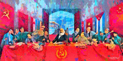 Marx Painting - Last Communist Supper 10 Colorful - Pa by Leonardo Digenio