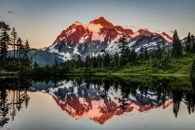 Photograph - Last Glow At Picture Lake by Pierre Leclerc Photography