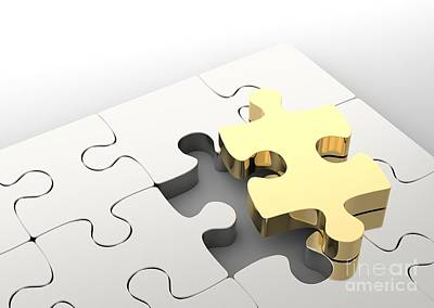 Photograph - Last Golden Puzzle Piece To Complete A Jigsaw. . Concept Of Business Solution by Michal Bednarek