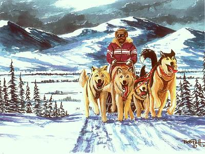 Iditarod Painting - Last Hill by Bob Patterson