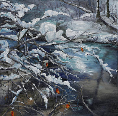 Winter Painting - Last Leaves Of Fall by Rebecca Hauschild